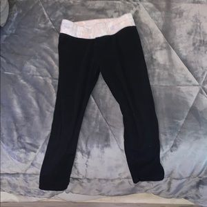 Black leggings with pink waist band